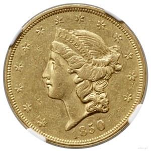 20 dolarów, 1850, Filadelfia; typ Liberty Head, no mott...