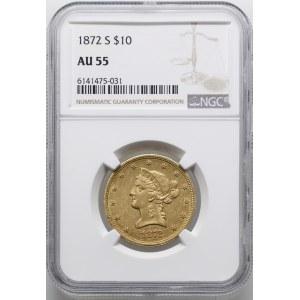 10 dolarów, 1872 S, San Francisco; typ Liberty Head, wi...