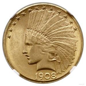 10 dolarów, 1908 D, Denver; typ Indian Head, with motto...
