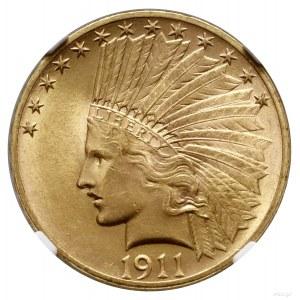 10 dolarów, 1911, Filadelfia; typ Indian Head, with mot...