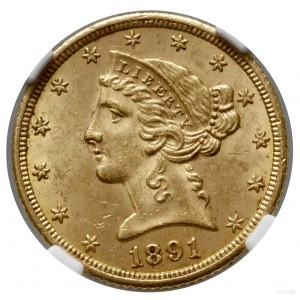 5 dolarów, 1891 CC, Carson City; typ Liberty Head, with...