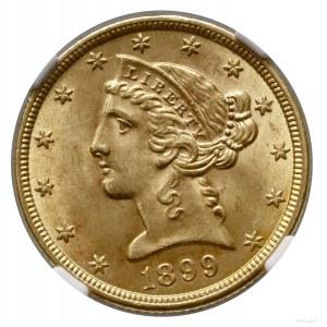 5 dolarów, 1899, Filadelfia; typ Liberty Head, with mot...