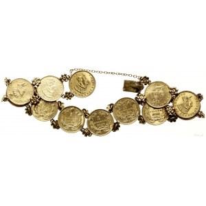 złota bransoleta z 12 złotymi monetami o nominale 1 dol...