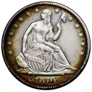 1/2 dolara, 1870 S, San Francisco; typ Liberty Seated -...