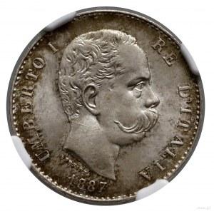 1 lir, 1887 M, Mediolan; Gnecchi 1, KM 24, Pagani 604; ...