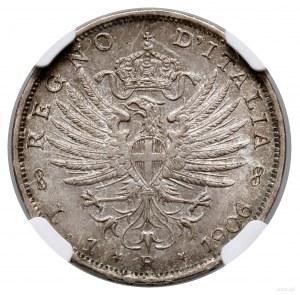1 lir, 1906 R, Rzym; KM 32, Pagani 766; pięknie zachowa...