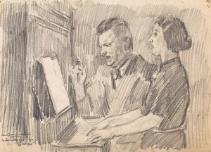 Józef Mehoffer (1869 Ropczyce - 1946 Wadowice), Duet przy pianinie, 1941 r.