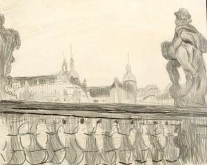 Stanisław Kamocki (1875 Warszawa - 1944 Zakopane), Balustrady Zwingeru i widok na zamek książąt saksoński w Dreźnie, ok 1903