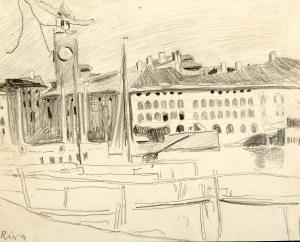 Stanisław Kamocki (1875 Warszawa - 1944 Zakopane), Widok na port i Torre Apponale w Riva del Garda, ok. 1907