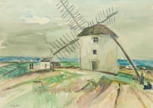 Henryk Epstein (1891 Łódź - 1944 Auschwitz), Pejzaż z wiatrakiem