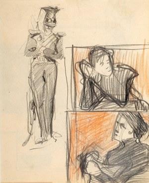 Stanisław Kamocki (1875 Warszawa - 1944 Zakopane), Stojący ułan i szkice popiersia kobiety, 1894 (?)