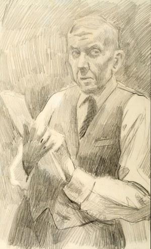 Stanisław Kamocki (1875 Warszawa - 1944 Zakopane), Autoportret ze szkicownikiem