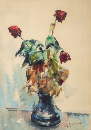 Henryk Baranowski (1932 Starogard Gdański - 2005 Gdynia), Róże w wazonie, przed 1974 r.