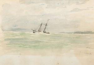Marian Mokwa (1889 Malary - 1987 Sopot), Żaglowiec na morzu, 1922 r.