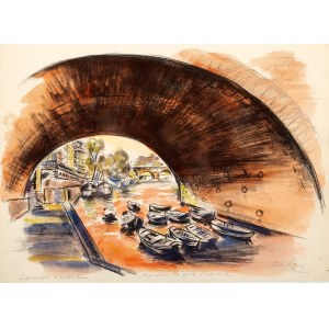Michel Adlen (1898 Łuck – 1980 Paryż), Widok pod mostem St. Michel w Paryżu
