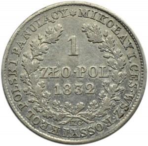 Mikołaj I, 1 złoty 1832 K.G., Warszawa, duża głowa cara