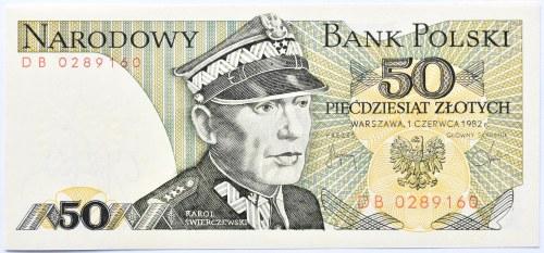 Polska, PRL, 50 złotych 1982, seria DB, Warszawa, UNC
