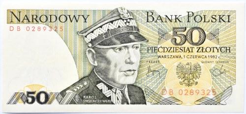 Polska, PRL, 50 złotych 1982, seria DB, UNC