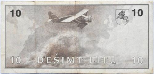 Litwa, S. Darius/S Girenas, 10 litów 1991, seria AA, rzadkie
