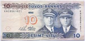 Litwa, S. Darius/S Girenas, 10 litów 1993, seria KAC