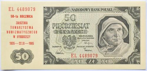 Polska, RP, 50 złotych 1948, seria EL, okolicznościowy nadruk, Towarzystwo Numizmatyczne