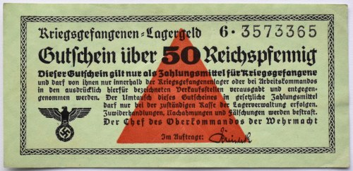 Uniwersalny Bon Obozowy, Kriegsgefangenen- Lagergeld, 50 pfennig