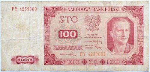 Polska, RP, 100 złotych 1948, seria FY, Warszawa, bez ramki wokół nominału