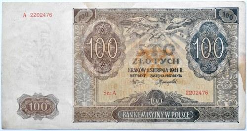 Polska, Generalna Gubernia, 100 złotych 1941, seria A, NADRUK POWSTAŃCZY