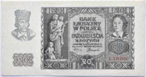 Polska, Generalna Gubernia, 20 złotych 1940, seria L