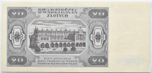 Polska, RP, 20 złotych 1948, seria HK, UNC