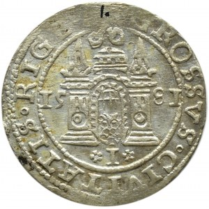 Stefan Batory, grosz 1581, Ryga, odmiana z herbem miasta