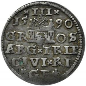Zygmunt III Waza, trojak 1590, Ryga, mała głowa króla, końcówka napisu LI