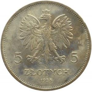 Polska, II RP, 5 złotych 1928 Nike, Warszawa, odmiana ze znakiem mennicy, piękna!