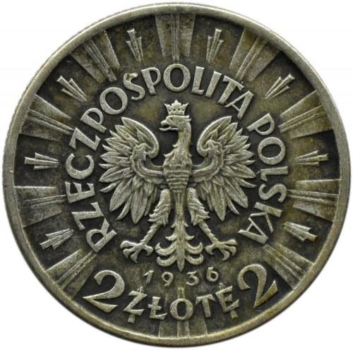 Polska, II RP, J. Piłsudski, 2 złote 1936, Warszawa, rzadkie