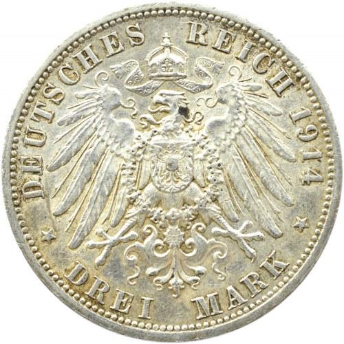 Niemcy, Anhalt, Friedrich i Marie, 3 marki 1914 A, Berlin