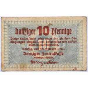 Danzig, Gdańsk, 10 pfennig 1923, jednostronny