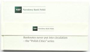 Polska, PRL, Zestaw banknotów Miasta Polskie w albumie, UNC