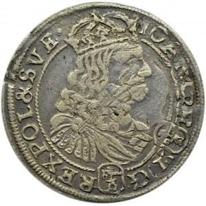 Jan II Kazimierz, szóstak 1667 .TL-B., Bydgoszcz, podwójny herb Ślepowron na awersie