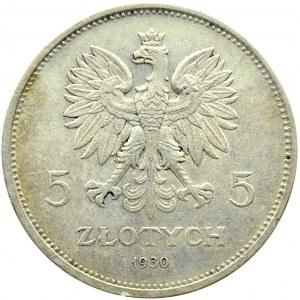 Polska, II RP, Sztandar, 5 złotych 1930, Warszawa