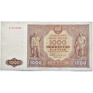 Polska, RP, 1000 złotych 1946, seria K, Warszawa