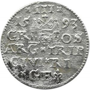 Zygmunt III Waza, trojak 1593, Ryga, odmiana z rozetą między D G