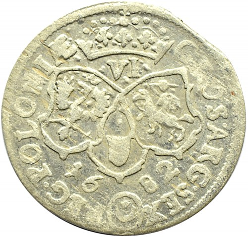 Jan III Sobieski, szóstak 1682, Bydgoszcz, duża 2 w dacie, 10 klejnotów w koronie