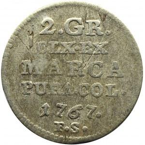 Stanisław A. Poniatowski, 2 grosze srebrne (półzłotek) 1767 F.S., Warszawa