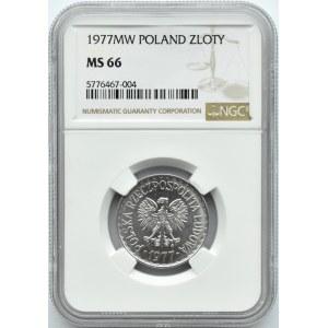 Polska, PRL, 1 złoty 1977 ze znakiem mennicy, NGC MS66