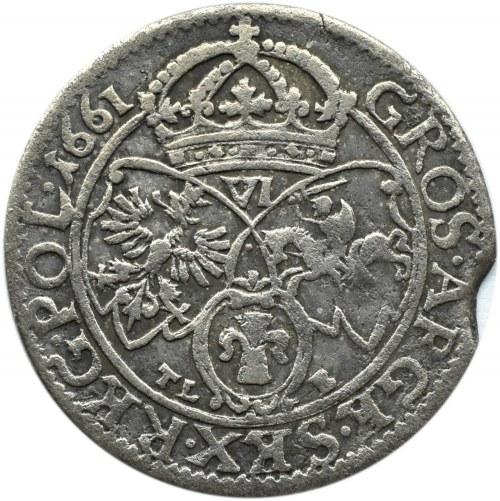 Jan II Kazimierz, szóstak 1661 TLB, Kraków, wygięte tarcze, błąd w napisie ..RKG...(R3)!!!