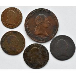Austria, Franciszek II, lot monet kreuzer (krajcar) A/B/S, Wiedeń/Kremnica/Smolnik
