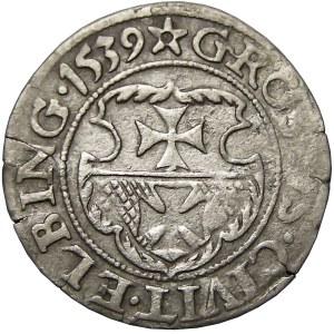 Zygmunt I Stary, grosz 1539, Elbląg, ładny egzemplarz