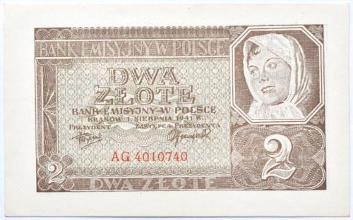 Polska, Generalna Gubernia, 2 złote 1941, seria AG, UNC