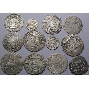 Polska, lot 12 srebrnych monet z okresu Polski Królewskiej