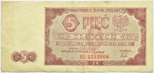 Polska, RP, 5 złotych 1948, seria BD, Warszawa